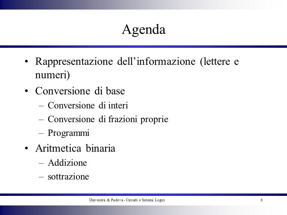 Università di Padova - Circuiti e Sistemi Logici6 Agenda Rappresentazione dellinformazione (lettere e numeri) Conversione di base –Conversione di inte