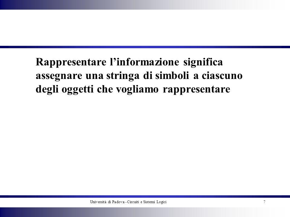 Università di Padova - Circuiti e Sistemi Logici8 Linformazione si rappresenta usando un numero finito di simboli che siano affidabili e facilmente distinguibili