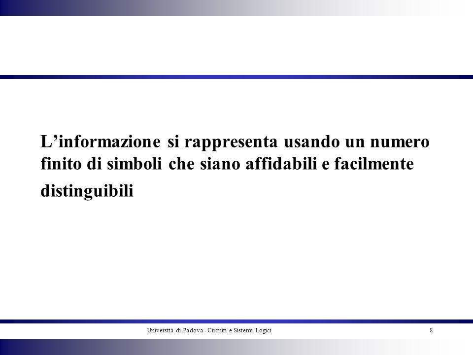 Università di Padova - Circuiti e Sistemi Logici8 Linformazione si rappresenta usando un numero finito di simboli che siano affidabili e facilmente di