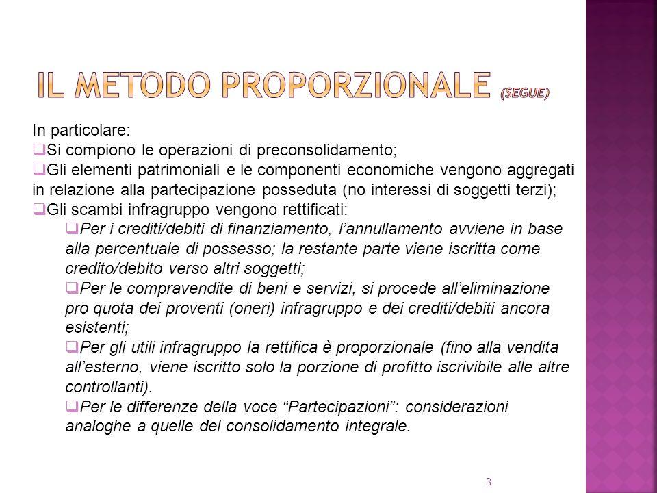 3 In particolare: Si compiono le operazioni di preconsolidamento; Gli elementi patrimoniali e le componenti economiche vengono aggregati in relazione