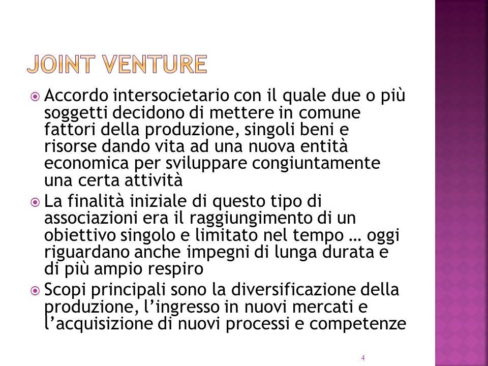 4 Accordo intersocietario con il quale due o più soggetti decidono di mettere in comune fattori della produzione, singoli beni e risorse dando vita ad