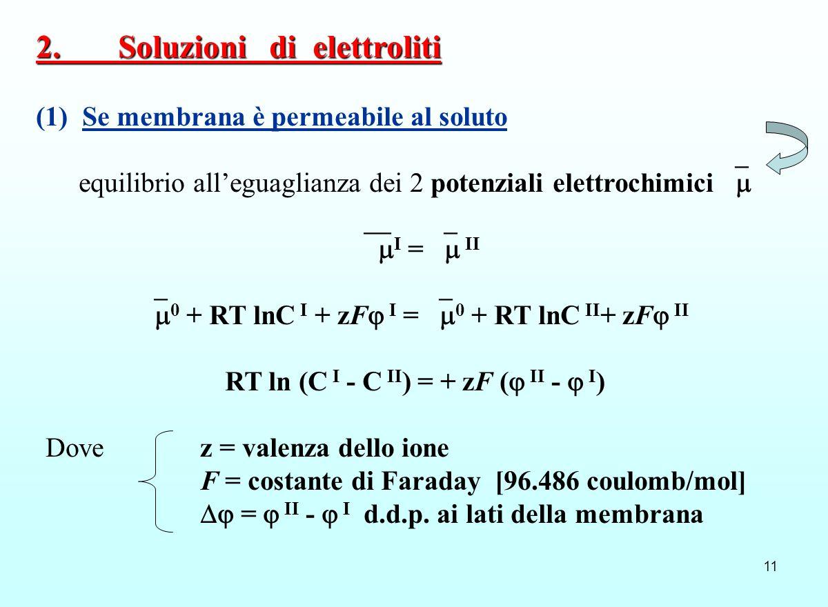 11 (1) Se membrana è permeabile al soluto equilibrio alleguaglianza dei 2 potenziali elettrochimici I = II 0 + RT lnC I + zF I = 0 + RT lnC II + zF II