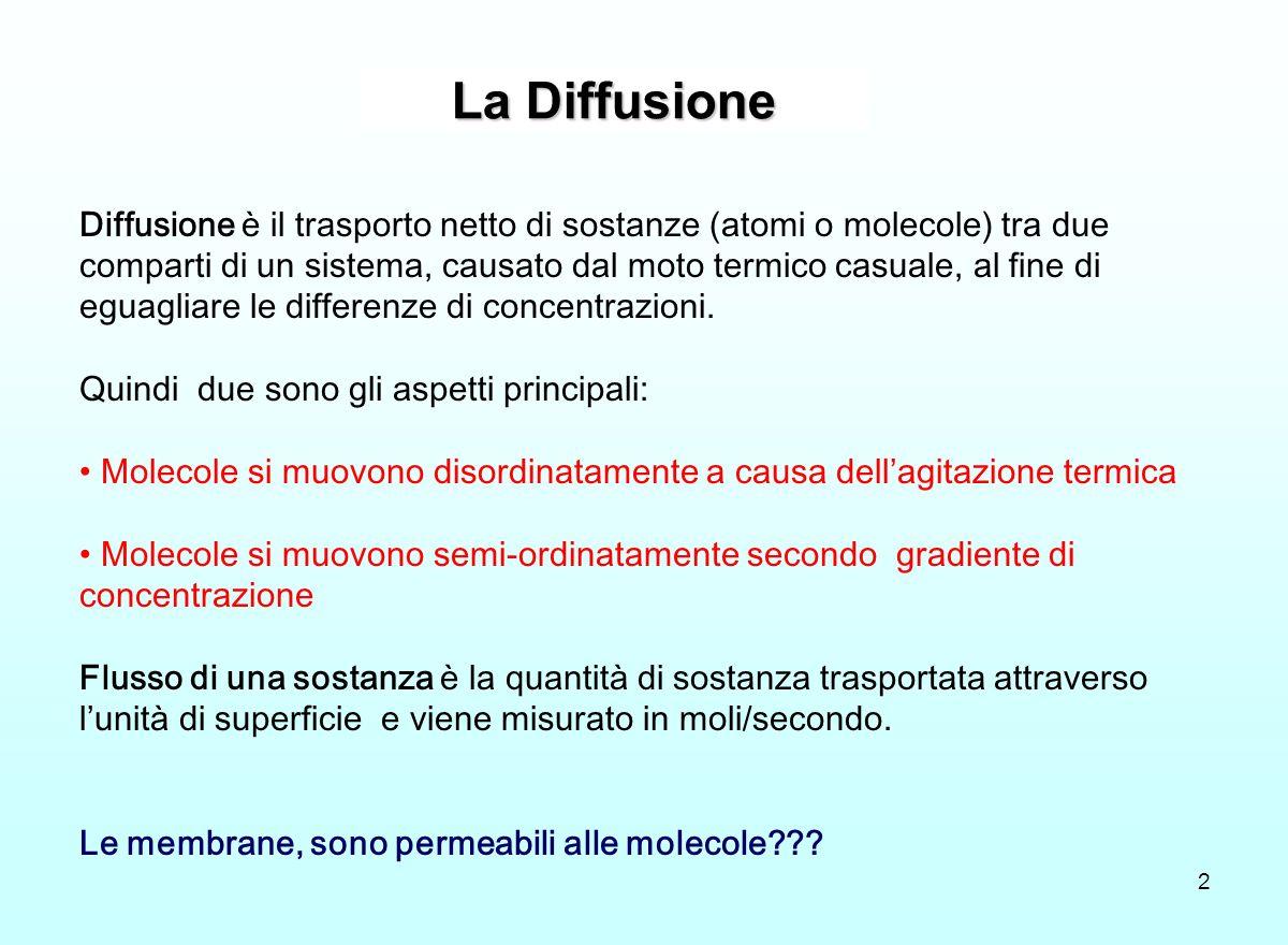 La Diffusione 2 Diffusione è il trasporto netto di sostanze (atomi o molecole) tra due comparti di un sistema, causato dal moto termico casuale, al fi