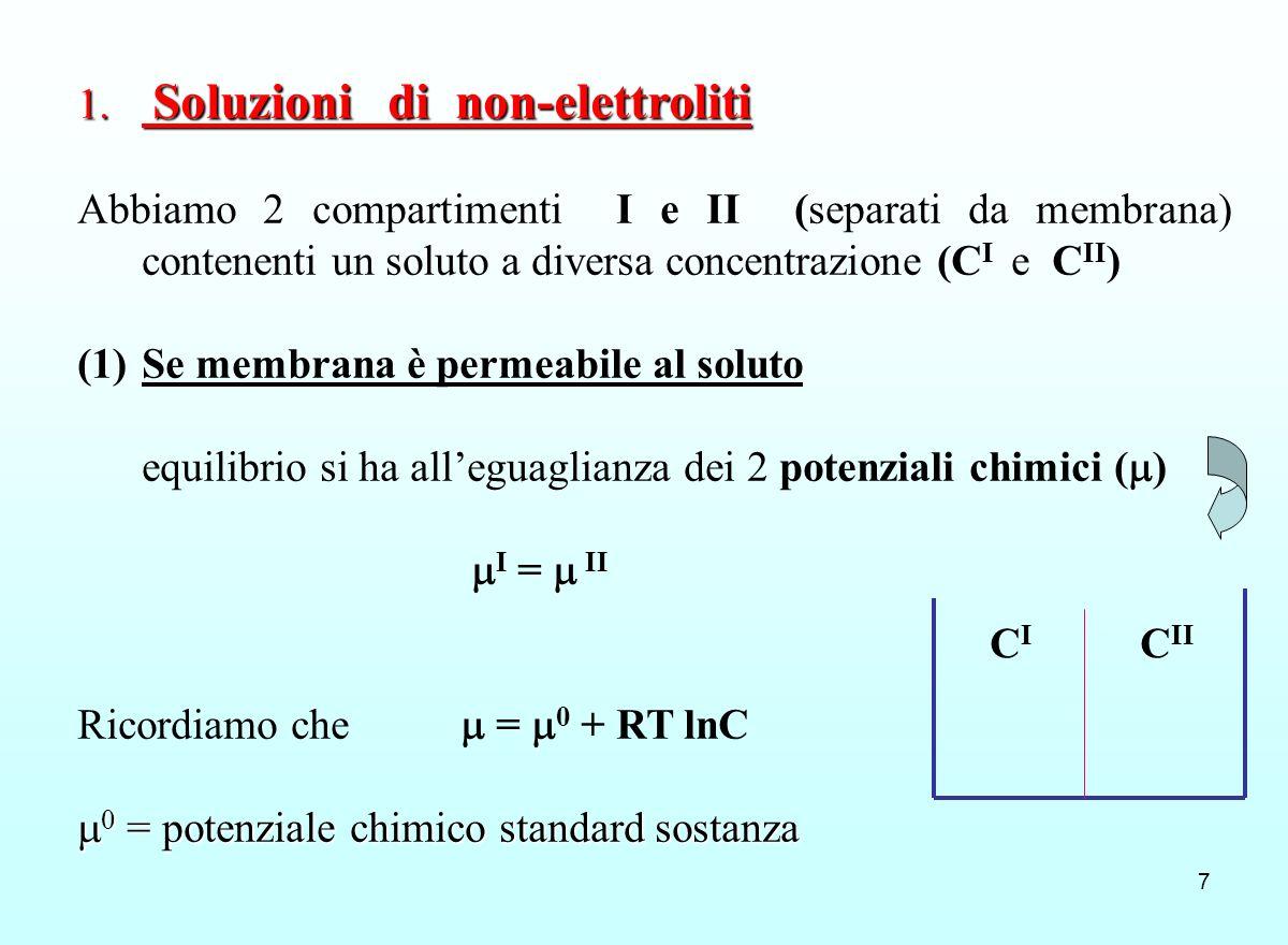 7 1. Soluzioni di non-elettroliti Abbiamo 2 compartimenti I e II (separati da membrana) contenenti un soluto a diversa concentrazione (C I e C II ) (1