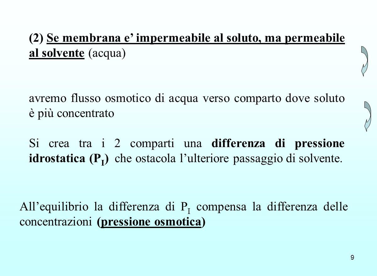 9 (2) Se membrana e impermeabile al soluto, ma permeabile al solvente (acqua) avremo flusso osmotico di acqua verso comparto dove soluto è più concent