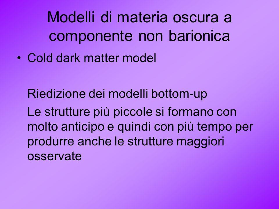 Modelli di materia oscura a componente non barionica Cold dark matter model Riedizione dei modelli bottom-up Le strutture più piccole si formano con m
