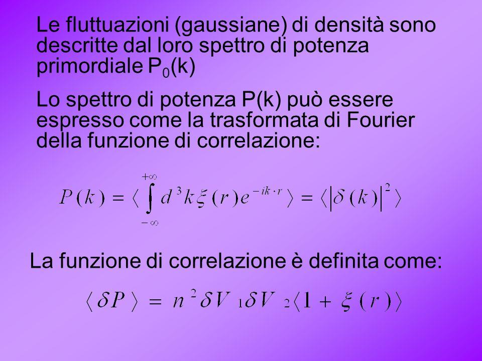 Le fluttuazioni (gaussiane) di densità sono descritte dal loro spettro di potenza primordiale P 0 (k) Lo spettro di potenza P(k) può essere espresso c