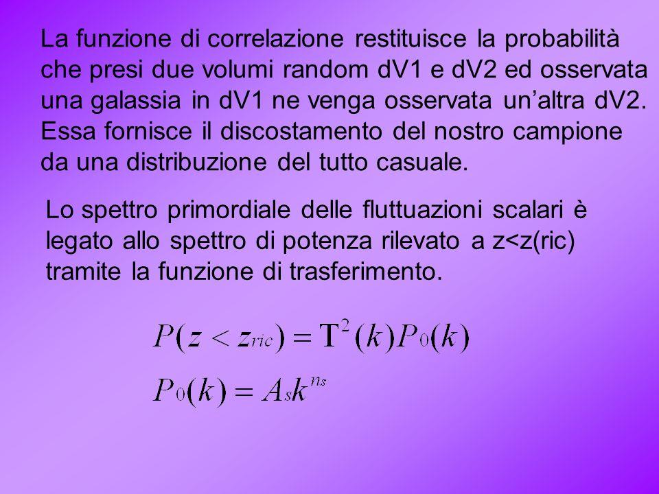 La funzione di correlazione restituisce la probabilità che presi due volumi random dV1 e dV2 ed osservata una galassia in dV1 ne venga osservata unalt