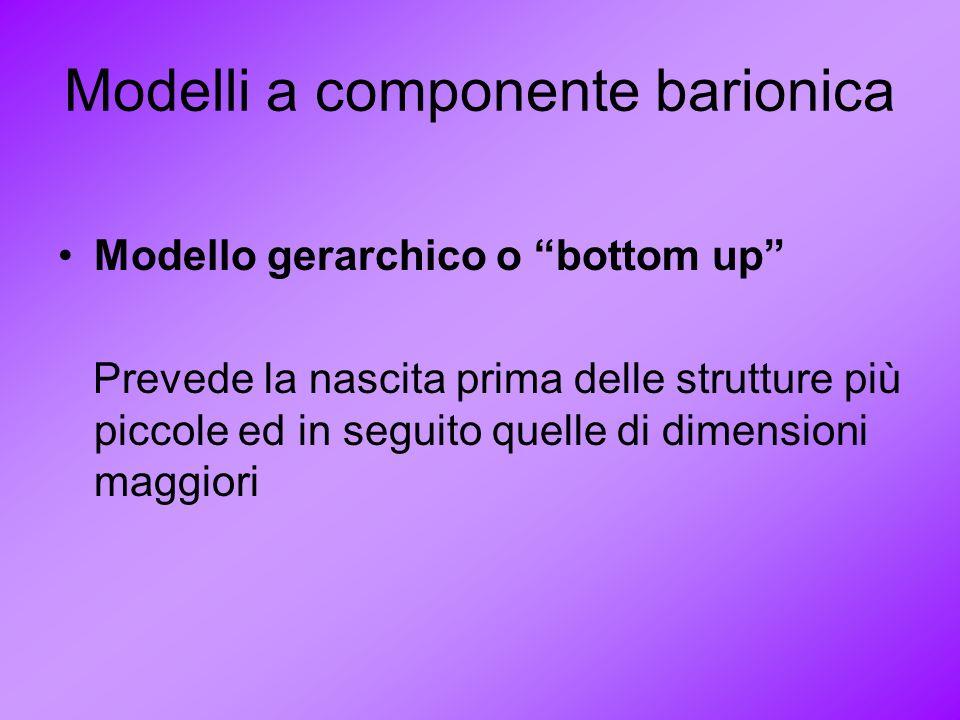 Modelli a componente barionica Modello gerarchico o bottom up Prevede la nascita prima delle strutture più piccole ed in seguito quelle di dimensioni