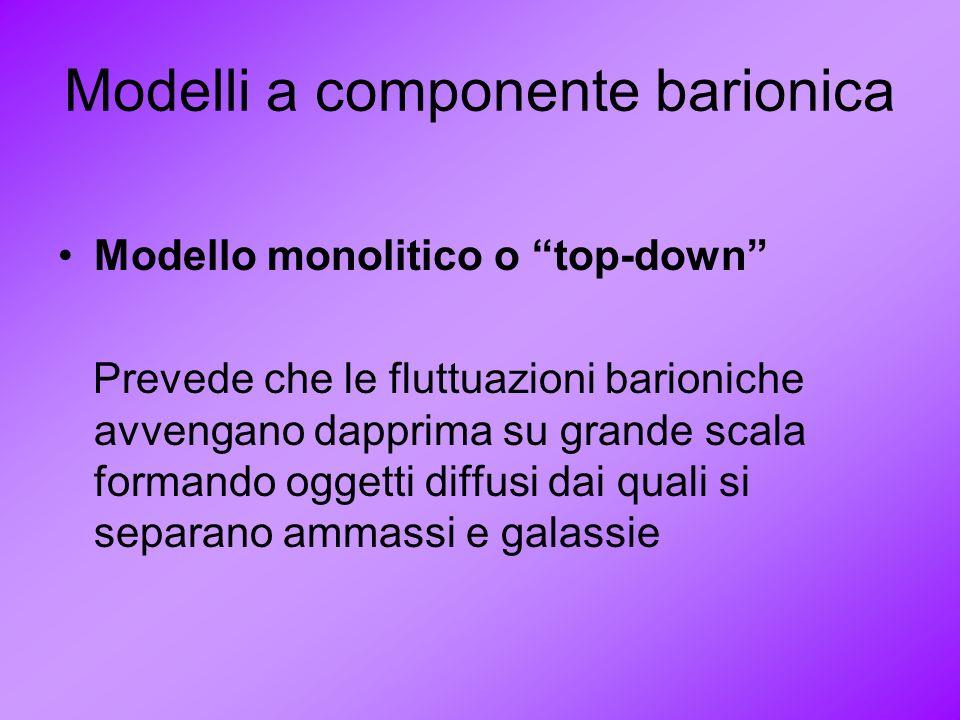 Modelli a componente barionica Modello monolitico o top-down Prevede che le fluttuazioni barioniche avvengano dapprima su grande scala formando oggett