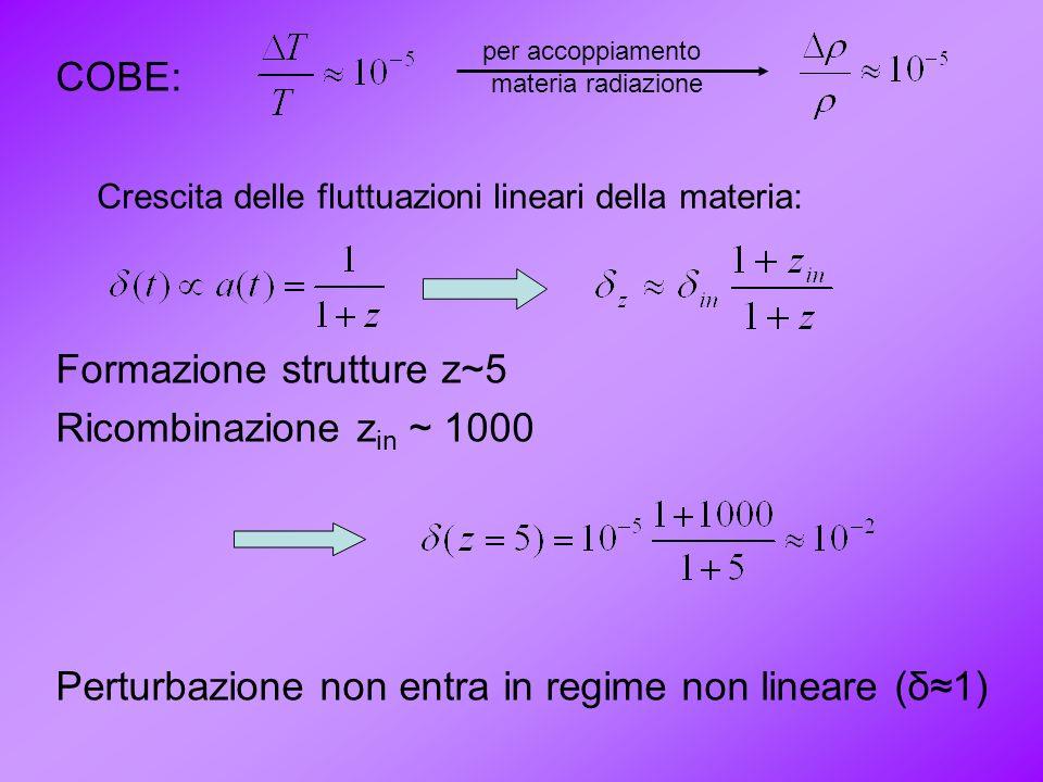 COBE: Formazione strutture z~5 Ricombinazione z in ~ 1000 Perturbazione non entra in regime non lineare (δ1) per accoppiamento materia radiazione Cres