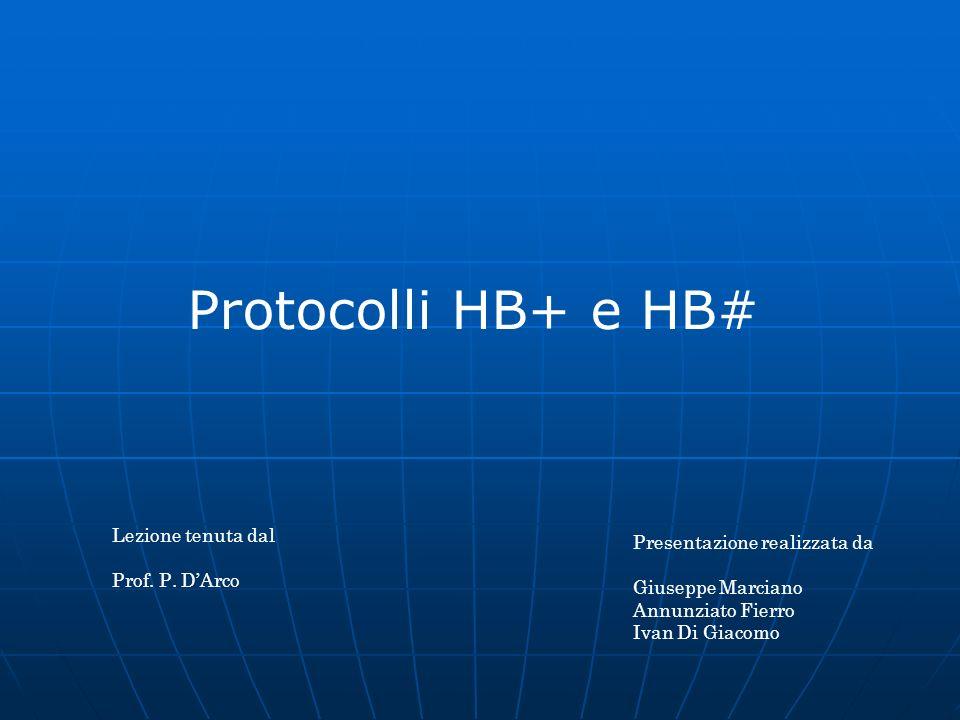 Protocolli HB+ e HB# Presentazione realizzata da Giuseppe Marciano Annunziato Fierro Ivan Di Giacomo Lezione tenuta dal Prof. P. DArco