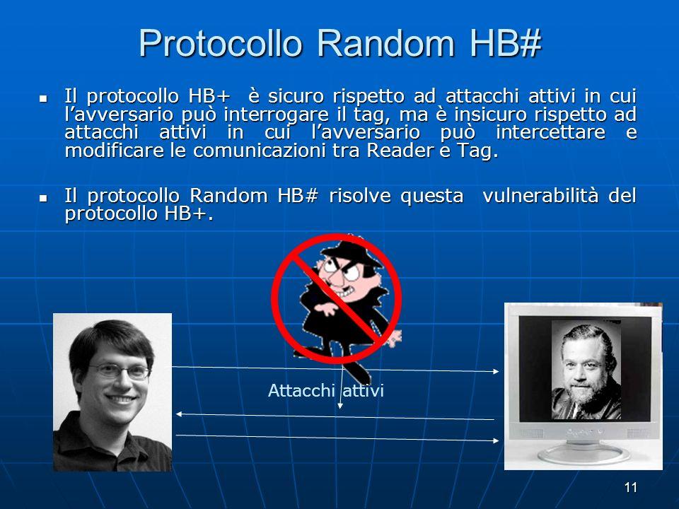 11 Protocollo Random HB# Il protocollo HB+ è sicuro rispetto ad attacchi attivi in cui lavversario può interrogare il tag, ma è insicuro rispetto ad a
