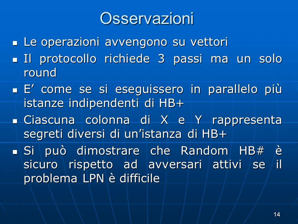 14 Osservazioni Le operazioni avvengono su vettori Le operazioni avvengono su vettori Il protocollo richiede 3 passi ma un solo round Il protocollo ri