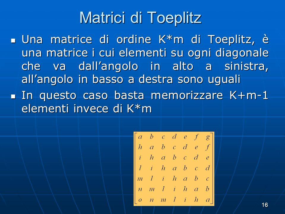 16 Matrici di Toeplitz Una matrice di ordine K*m di Toeplitz, è una matrice i cui elementi su ogni diagonale che va dallangolo in alto a sinistra, all