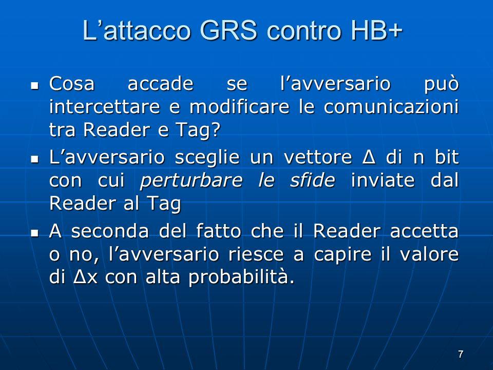 7 Lattacco GRS contro HB+ Cosa accade se lavversario può intercettare e modificare le comunicazioni tra Reader e Tag? Cosa accade se lavversario può i