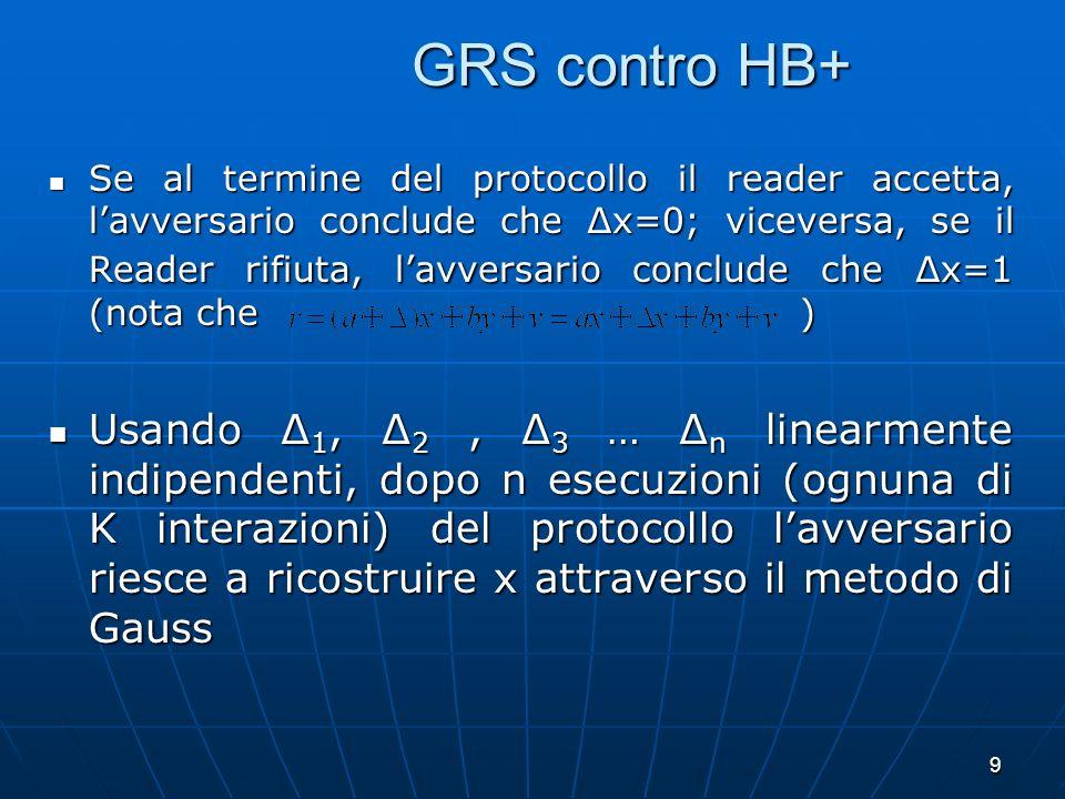 9 GRS contro HB+ GRS contro HB+ Se al termine del protocollo il reader accetta, lavversario conclude che x=0; viceversa, se il Reader rifiuta, lavvers