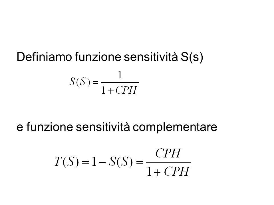 Definiamo funzione sensitività S(s) e funzione sensitività complementare