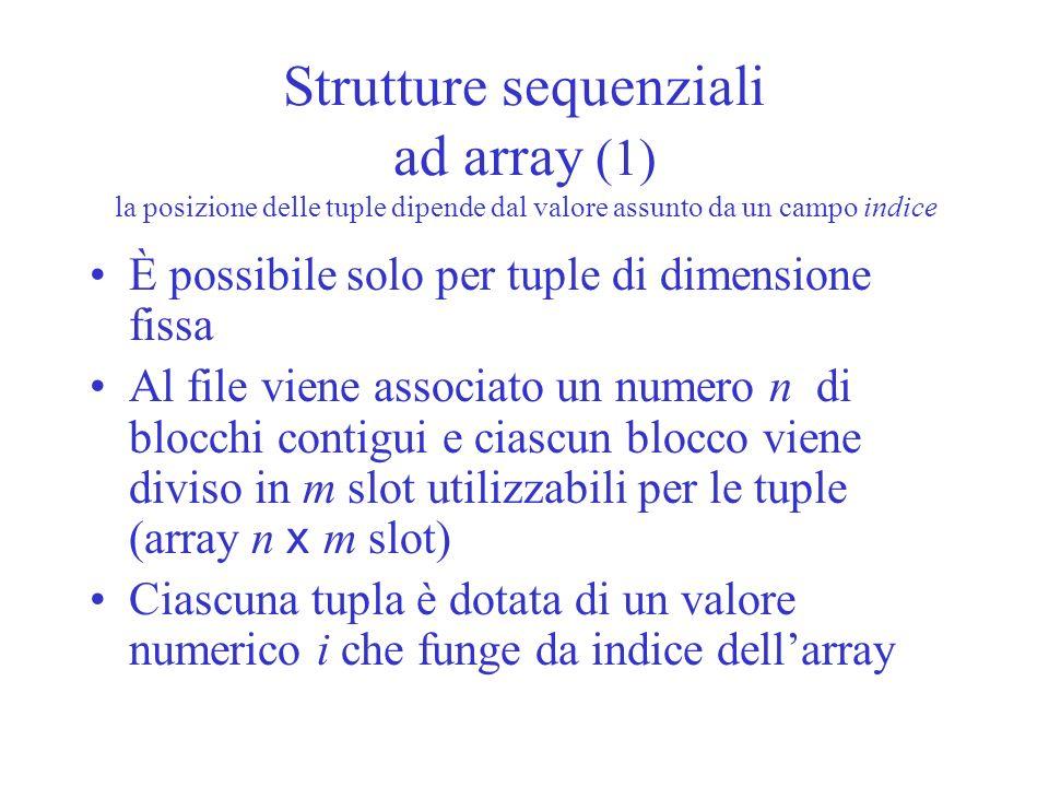 Strutture sequenziali ad array (1) la posizione delle tuple dipende dal valore assunto da un campo indice È possibile solo per tuple di dimensione fis