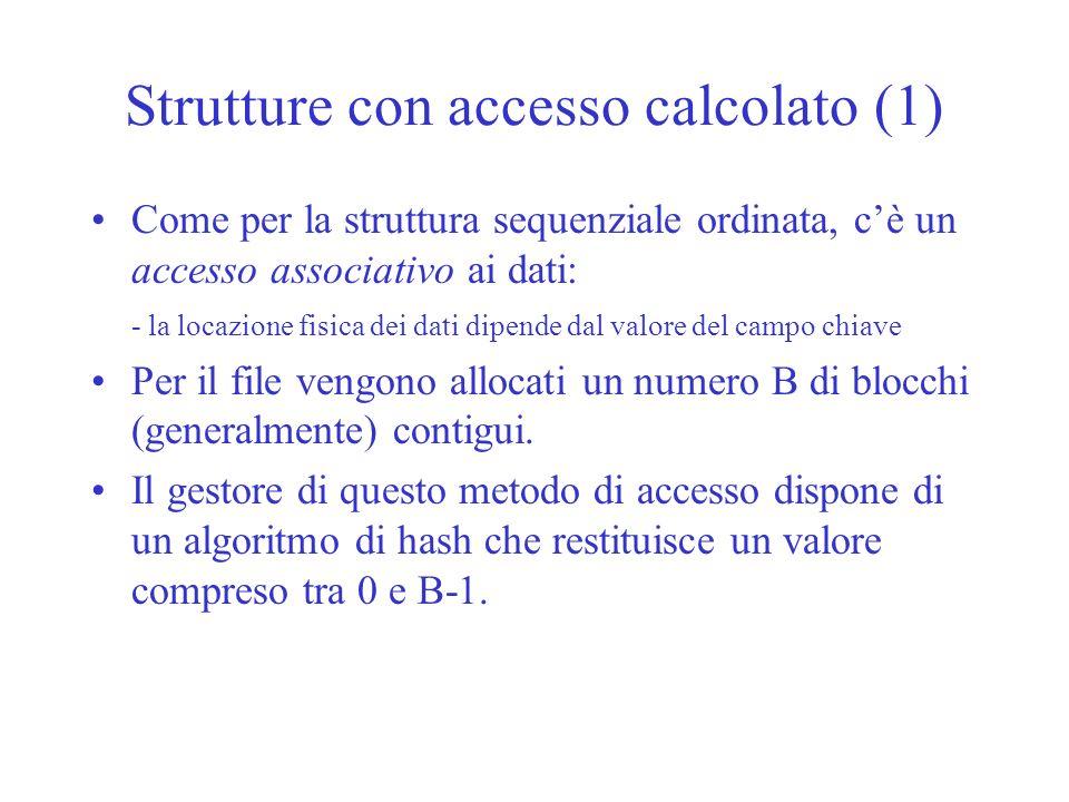 Strutture con accesso calcolato (1) Come per la struttura sequenziale ordinata, cè un accesso associativo ai dati: - la locazione fisica dei dati dipe