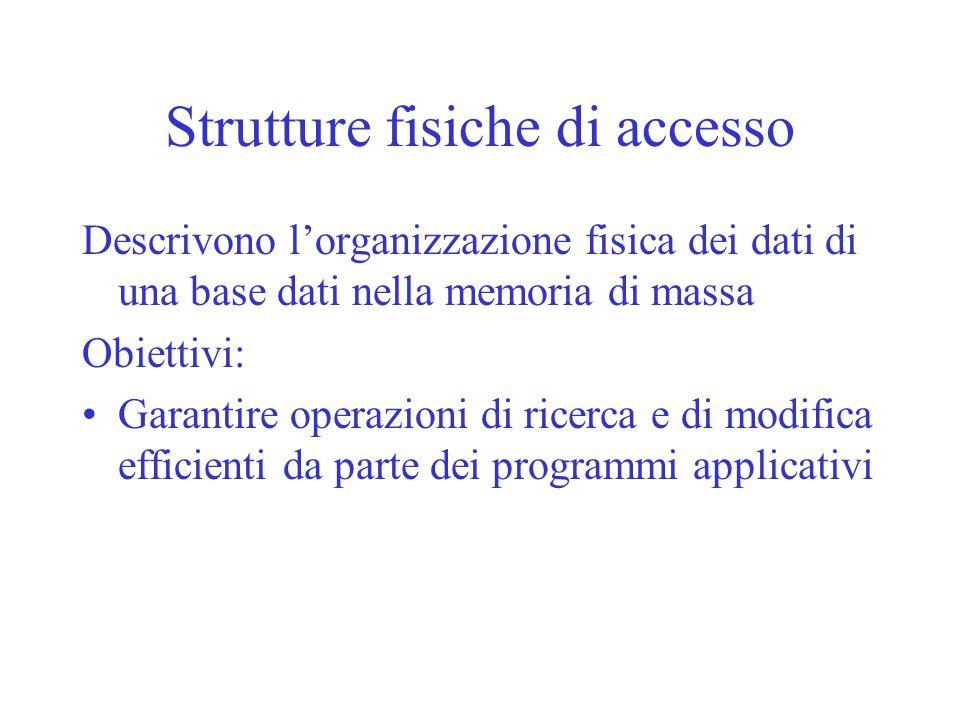 Strutture fisiche di accesso Descrivono lorganizzazione fisica dei dati di una base dati nella memoria di massa Obiettivi: Garantire operazioni di ric