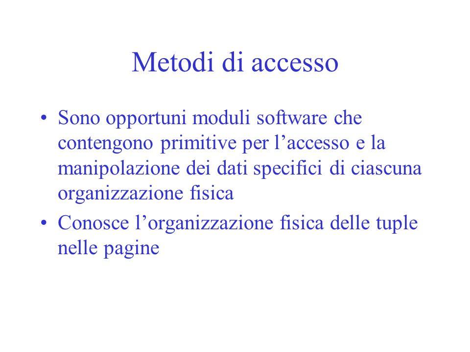 Metodi di accesso Sono opportuni moduli software che contengono primitive per laccesso e la manipolazione dei dati specifici di ciascuna organizzazion