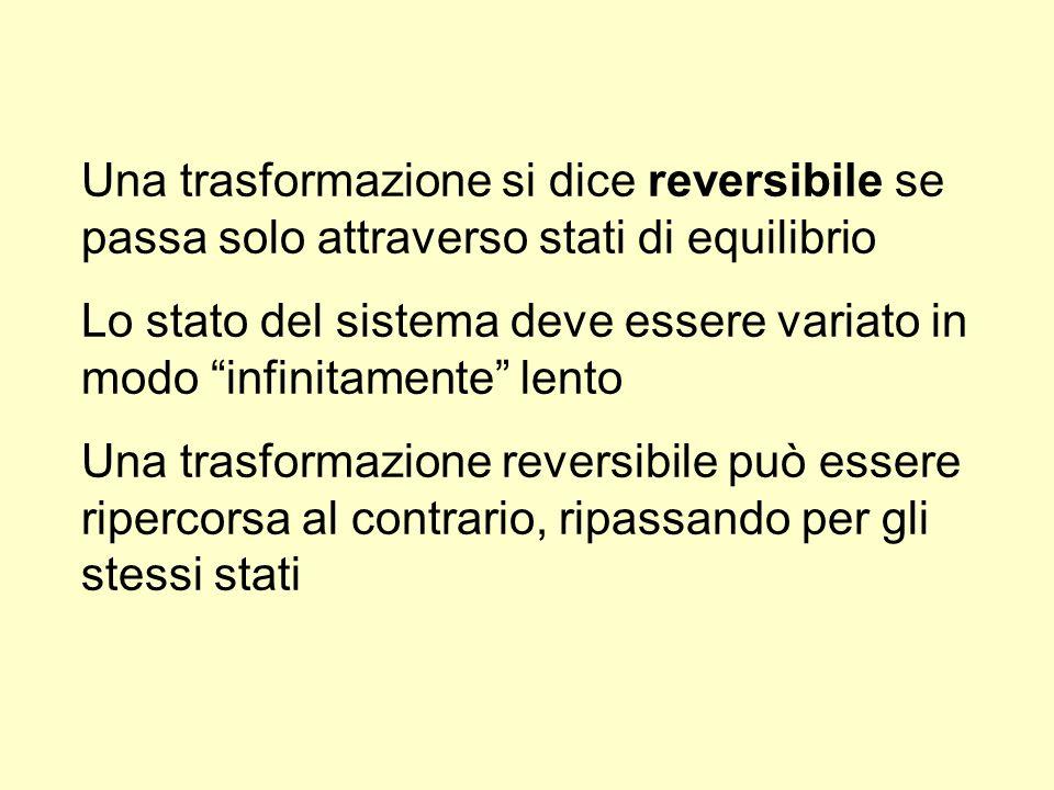 Una trasformazione si dice reversibile se passa solo attraverso stati di equilibrio Lo stato del sistema deve essere variato in modo infinitamente len
