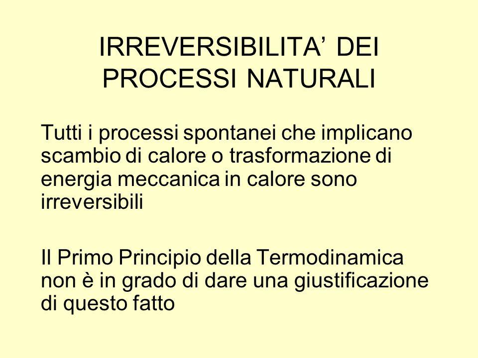 IRREVERSIBILITA DEI PROCESSI NATURALI Tutti i processi spontanei che implicano scambio di calore o trasformazione di energia meccanica in calore sono