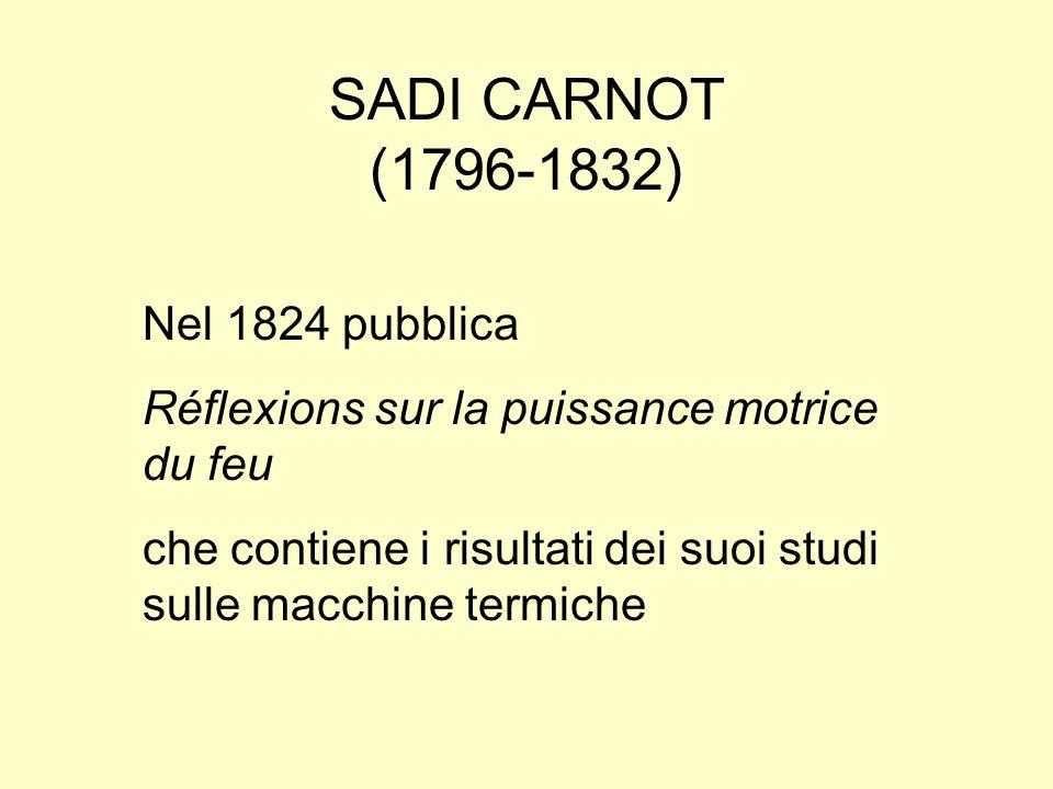 SADI CARNOT (1796-1832) Nel 1824 pubblica Réflexions sur la puissance motrice du feu che contiene i risultati dei suoi studi sulle macchine termiche