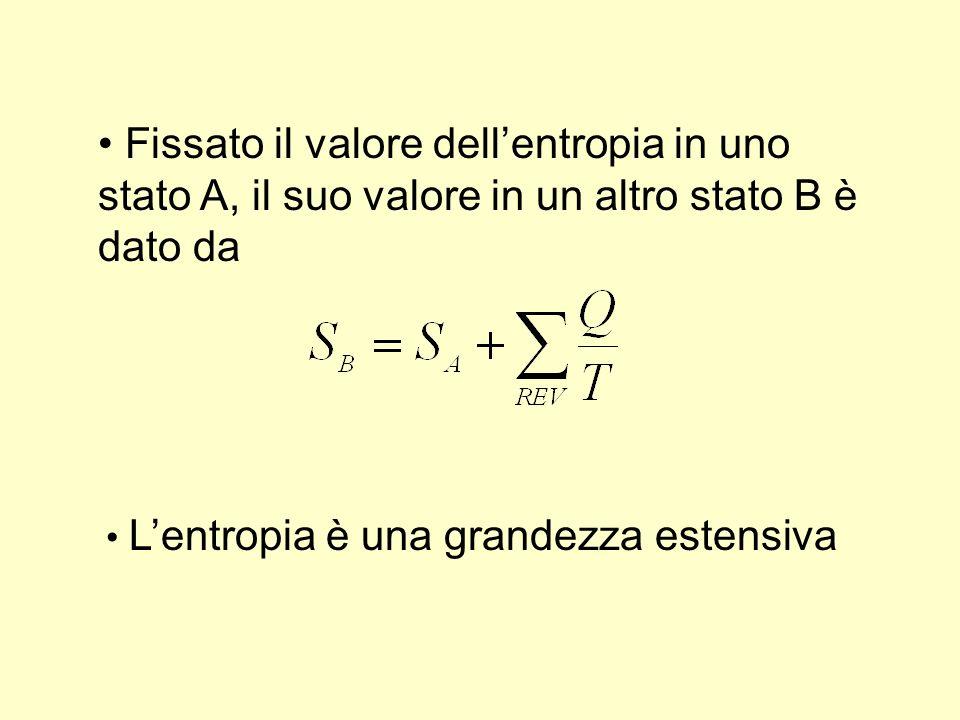 Fissato il valore dellentropia in uno stato A, il suo valore in un altro stato B è dato da Lentropia è una grandezza estensiva