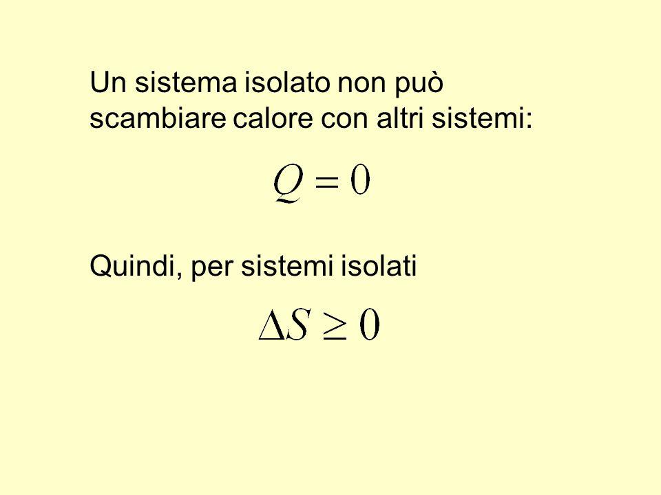 Un sistema isolato non può scambiare calore con altri sistemi: Quindi, per sistemi isolati