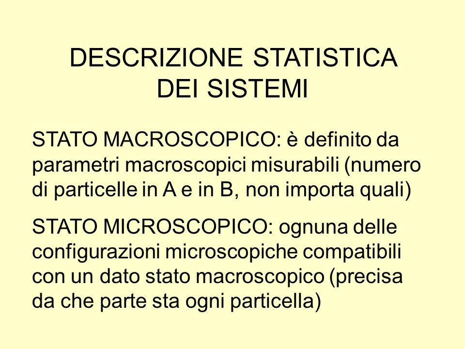 DESCRIZIONE STATISTICA DEI SISTEMI STATO MACROSCOPICO: è definito da parametri macroscopici misurabili (numero di particelle in A e in B, non importa