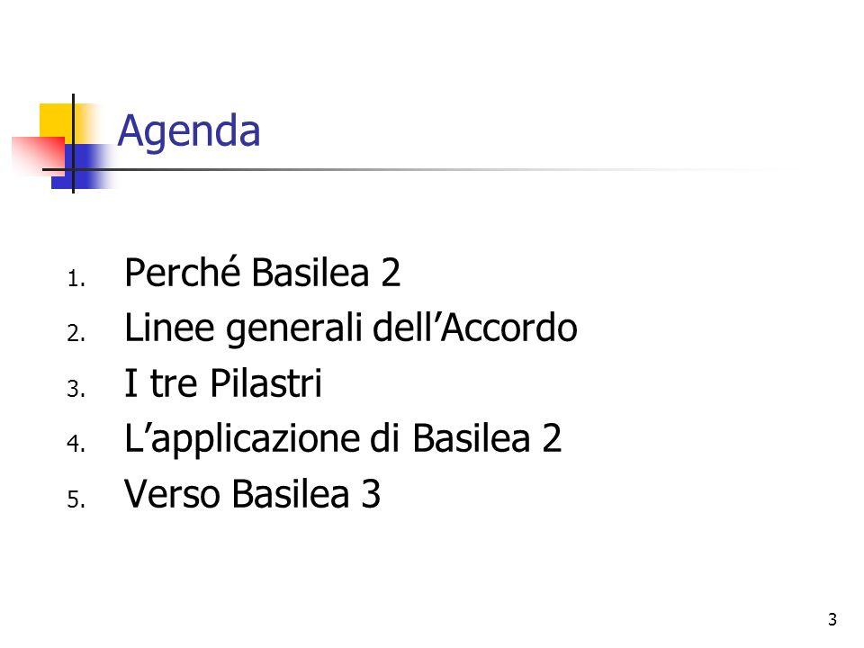 3 Agenda 1.Perché Basilea 2 2. Linee generali dellAccordo 3.