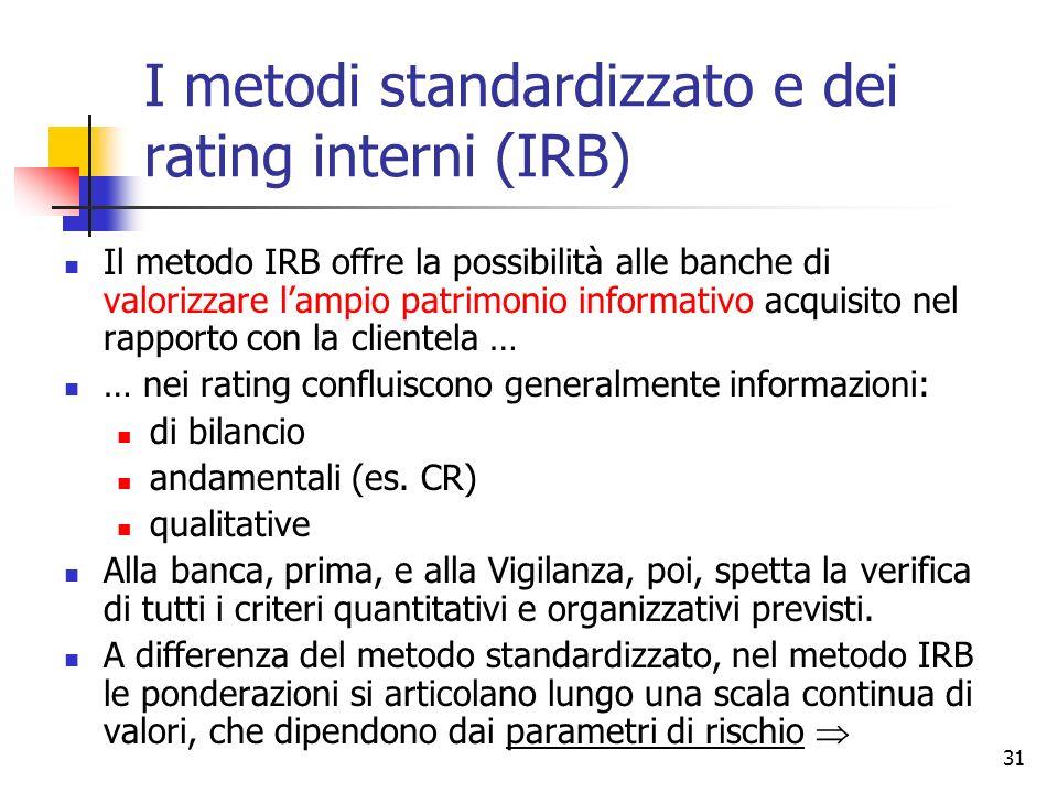 30 Nella sostanza il metodo standardizzato non è dissimile da Basilea 1 (ponderazioni forfettarie) ma … collega le ponderazioni delle attività ai rati