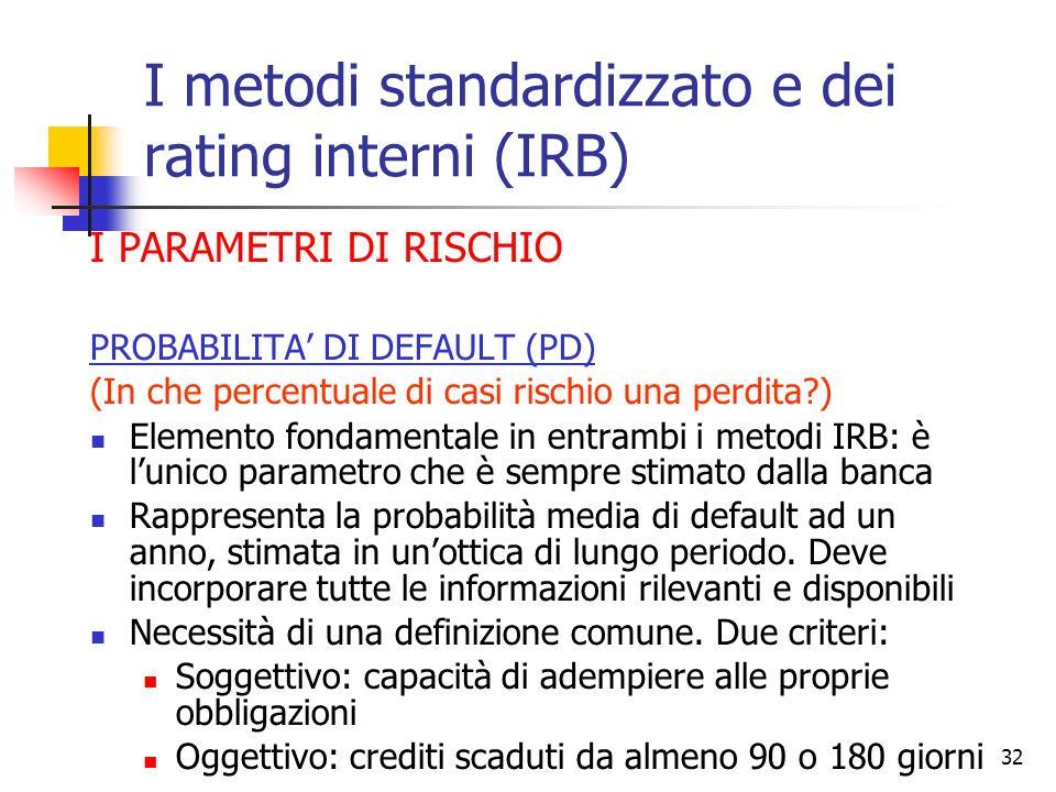 31 Il metodo IRB offre la possibilità alle banche di valorizzare lampio patrimonio informativo acquisito nel rapporto con la clientela … … nei rating