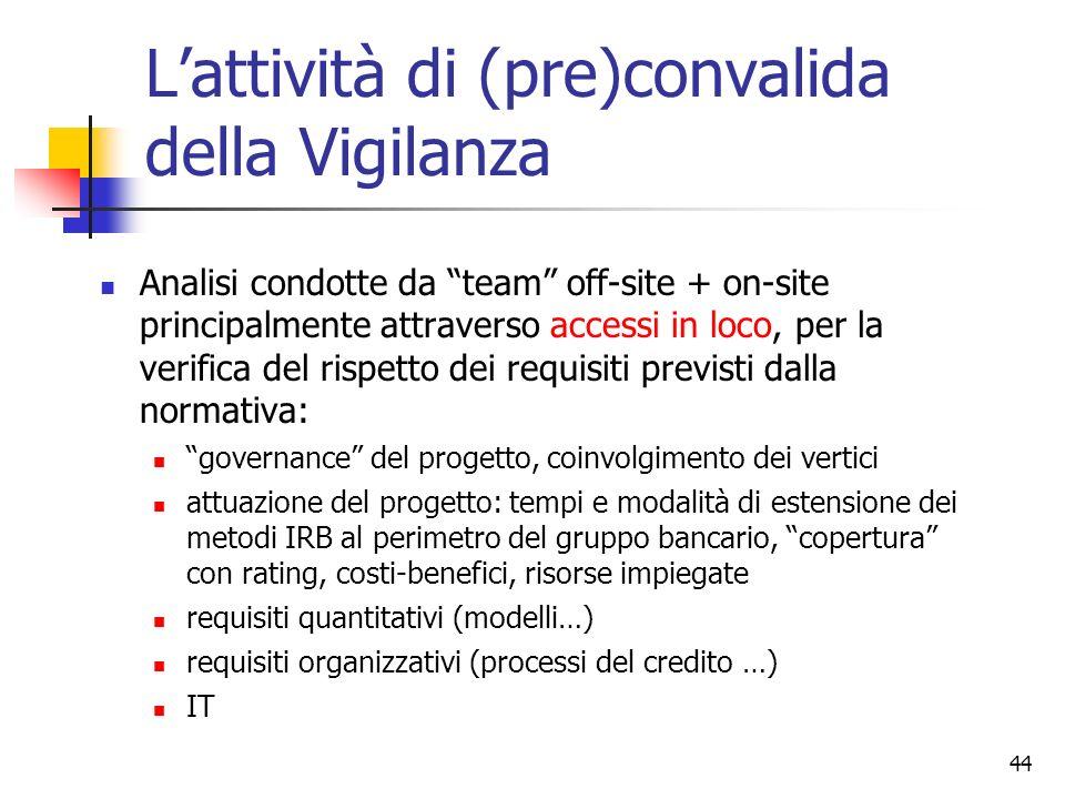 43 … e in Italia Ad oggi: 5 gruppi IRB Approccio più graduale, anche per effetto della complessità del framework per le banche e delle implicazioni st