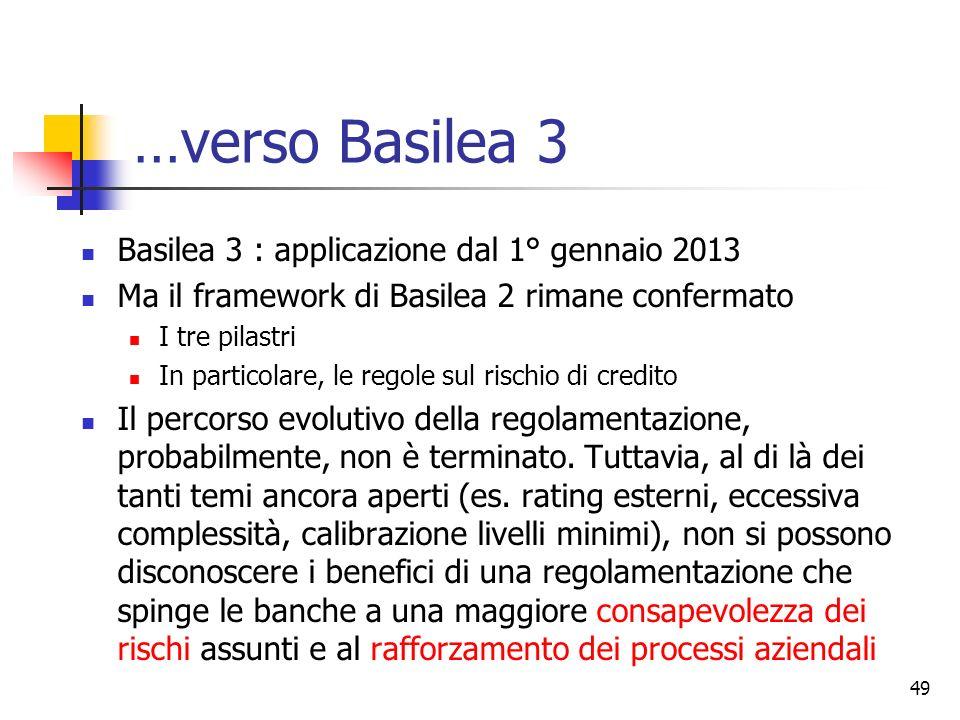 48 Basilea 2 e la crisi finanziaria In coincidenza con lentrata in vigore di B2 è scoppiata la crisi finanziaria (2007-08) Dibattito iniziale un po co