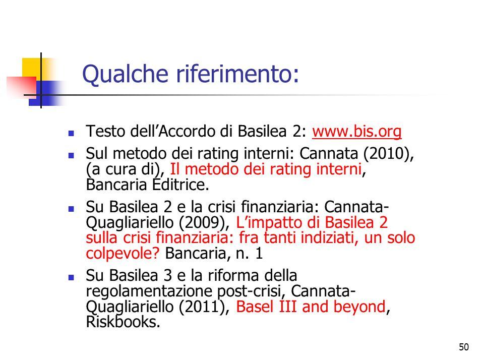 49 …verso Basilea 3 Basilea 3 : applicazione dal 1° gennaio 2013 Ma il framework di Basilea 2 rimane confermato I tre pilastri In particolare, le rego