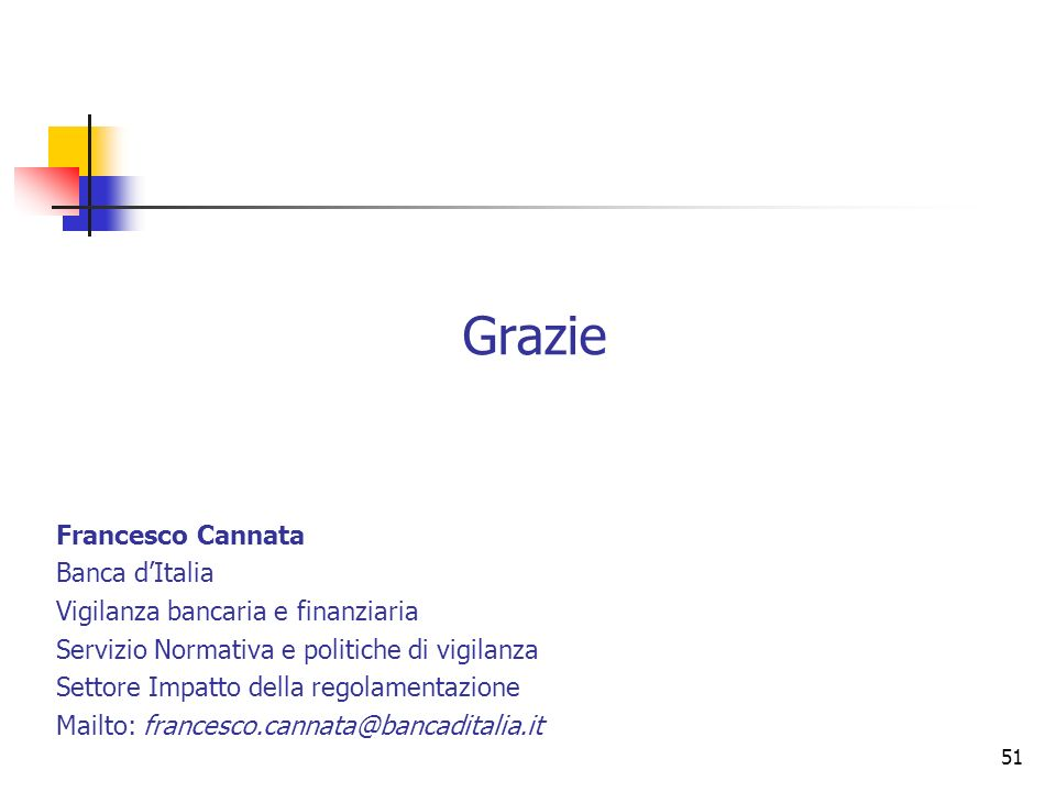 50 Testo dellAccordo di Basilea 2: www.bis.orgwww.bis.org Sul metodo dei rating interni: Cannata (2010), (a cura di), Il metodo dei rating interni, Ba