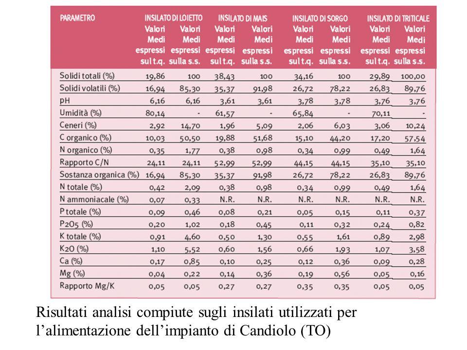 Risultati analisi compiute sugli insilati utilizzati per lalimentazione dellimpianto di Candiolo (TO)