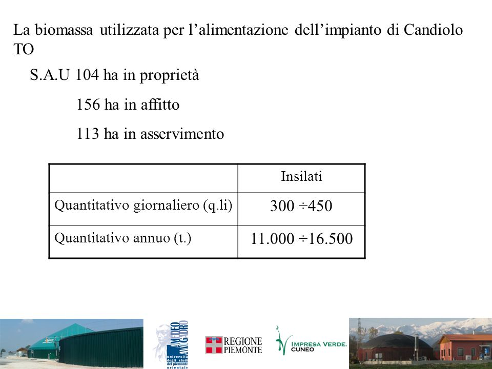 La biomassa utilizzata per lalimentazione dellimpianto di Candiolo TO S.A.U 104 ha in proprietà 156 ha in affitto 113 ha in asservimento Insilati Quan
