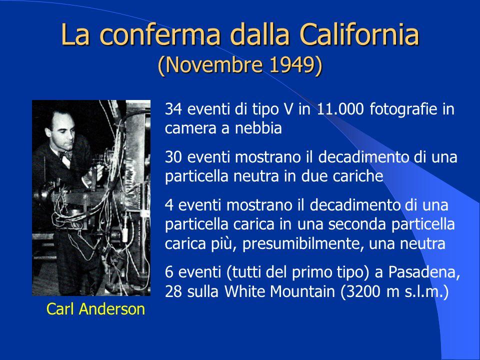 La conferma dalla California (Novembre 1949) Carl Anderson 34 eventi di tipo V in 11.000 fotografie in camera a nebbia 30 eventi mostrano il decadimen