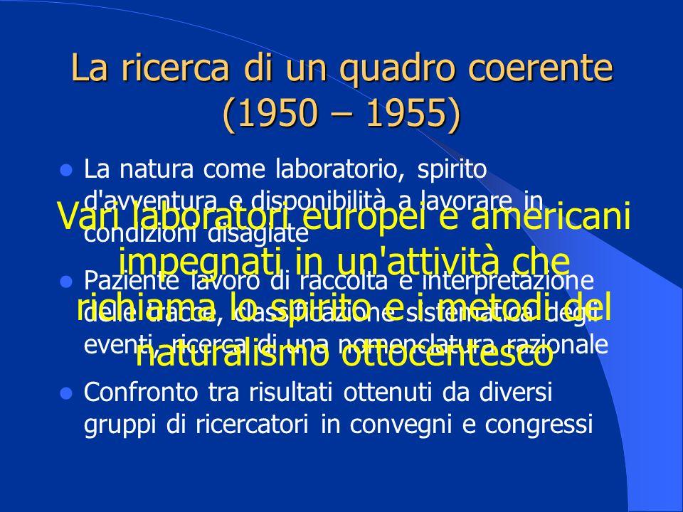 La ricerca di un quadro coerente (1950 – 1955) La natura come laboratorio, spirito d'avventura e disponibilità a lavorare in condizioni disagiate Pazi