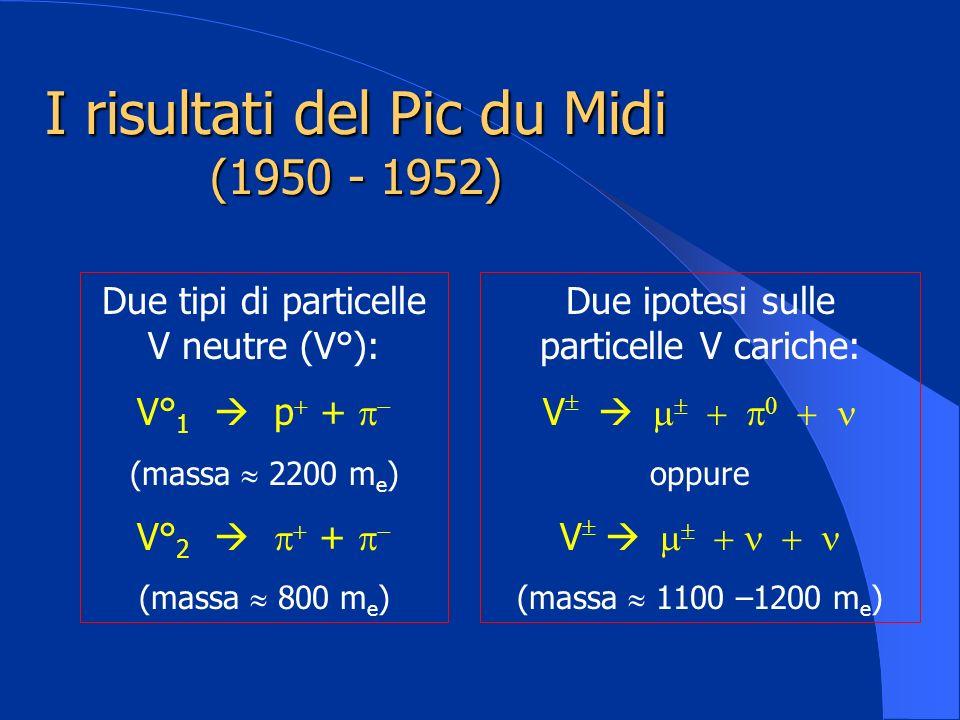 I risultati del Pic du Midi (1950 - 1952) Due tipi di particelle V neutre (V°): V° 1 p + (massa 2200 m e ) V° 2 + (massa 800 m e ) Due ipotesi sulle p