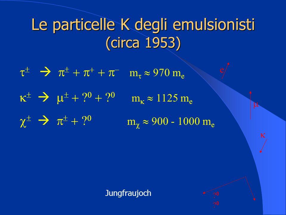 Le particelle K degli emulsionisti (circa 1953) e m 970 m e m 1125 m e m 900 - 1000 m e Jungfraujoch