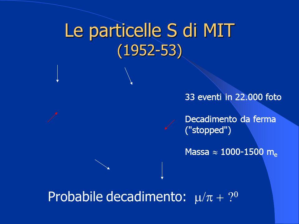 Le particelle S di MIT (1952-53) 33 eventi in 22.000 foto Decadimento da ferma (