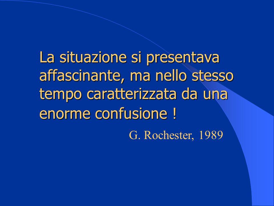La situazione si presentava affascinante, ma nello stesso tempo caratterizzata da una enorme confusione ! G. Rochester, 1989
