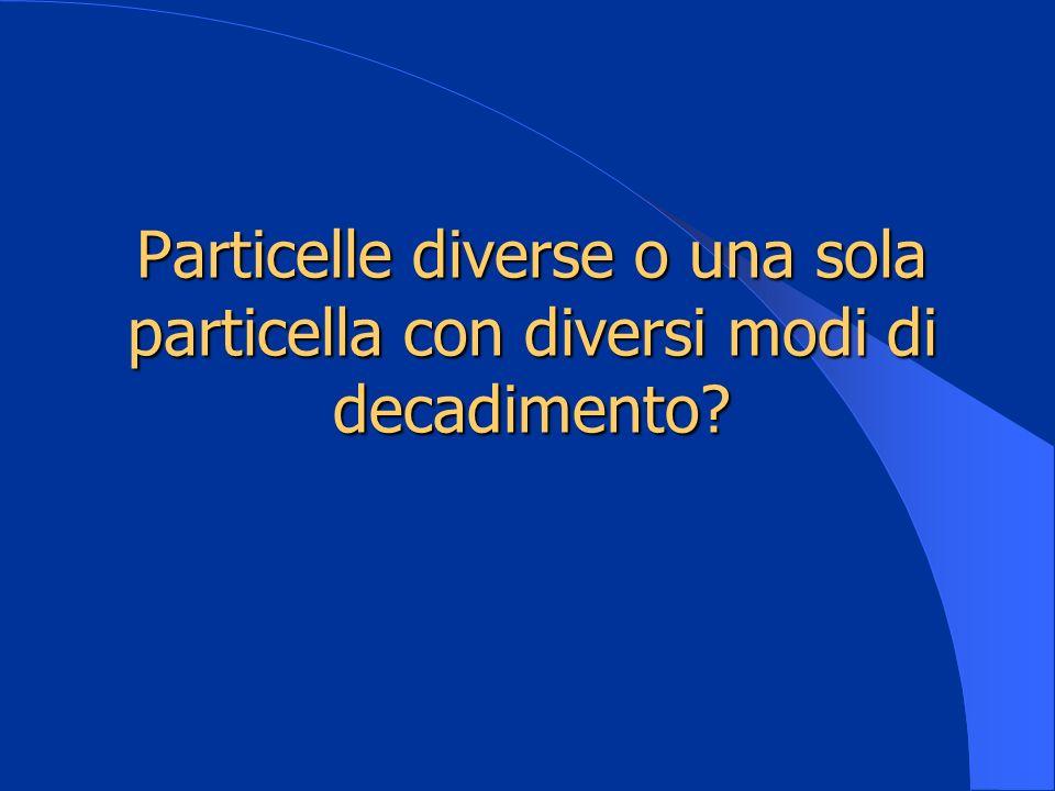 Particelle diverse o una sola particella con diversi modi di decadimento?