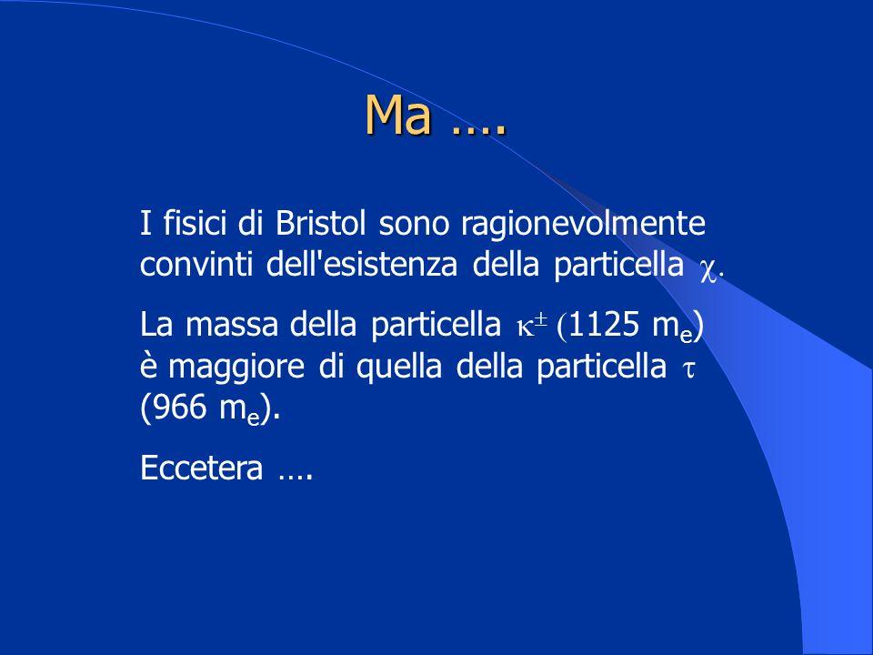 Ma …. I fisici di Bristol sono ragionevolmente convinti dell'esistenza della particella La massa della particella ( 1125 m e ) è maggiore di quella de
