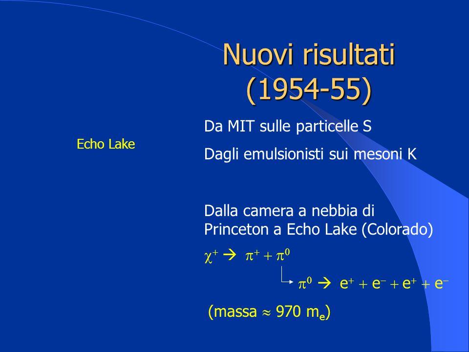 Nuovi risultati (1954-55) Da MIT sulle particelle S Dagli emulsionisti sui mesoni K Dalla camera a nebbia di Princeton a Echo Lake (Colorado) Echo Lak